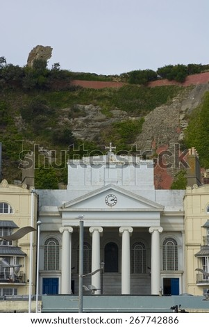 Church on seafront in Hastings town, under the cliffs. East Sussex. England - stock photo