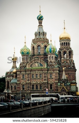 Church on Spilled Blood (Church of the Resurrection of Christ), St. Petersburg, Russia - stock photo