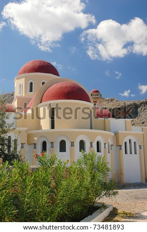 Church on the island of Rhodes, Greece - stock photo