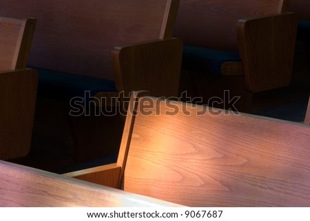 church, pews, religion,empty,faith, light,belief,deserted, abandoned,left out, - stock photo