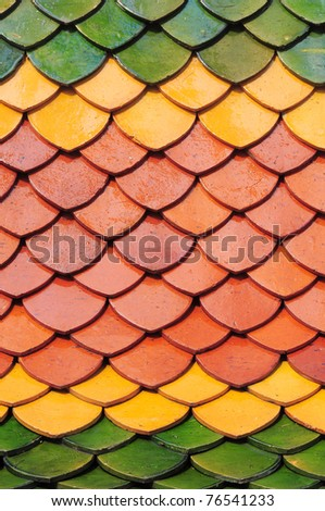 Church roof of Thai temple - stock photo