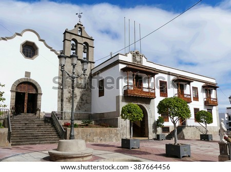 church San Agustin and town hall of village Icod de los Vinos - stock photo
