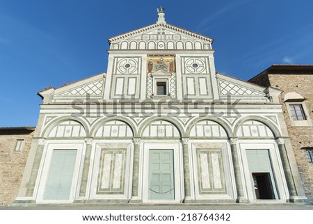 Church San Miniato al Monte in Florence, Italy. It is a basilica in Florence, Central Italy, standing atop one of the highest points in the city.