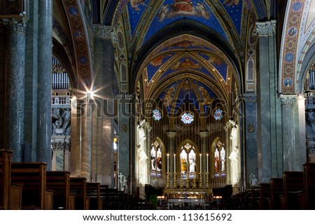 Church Santa Maria sopra Minerva in Rome, Italy is one of the few examples of Gothic architecture. Dating from the 13th century it was the traditional stronghold of the Dominicans. - stock photo