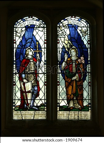 Church stained glass window - stock photo