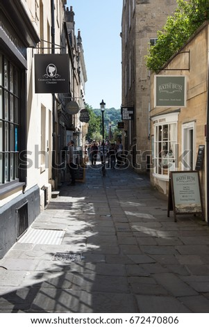 Church Street, Bath, UK 5th July 2017 - a view up the street towards the famous Sally Lunn's shop with tourists and visitors in the background