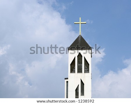 Church tower against a blue sky in Zagreb, Croatia