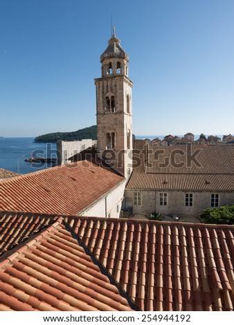 Church tower, Dubrovnik, croatia - stock photo