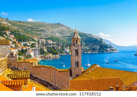 Church tower of the Old City of Dubrovnik (Croatia), a city on the Adriatic Sea,  It is one of the most prominent tourist destinations in the Mediterranean - stock photo
