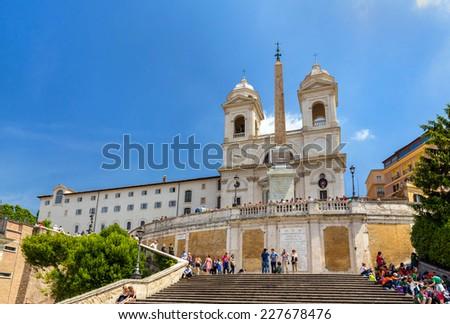 Church Trinita dei Monti in Rome, Italy - stock photo