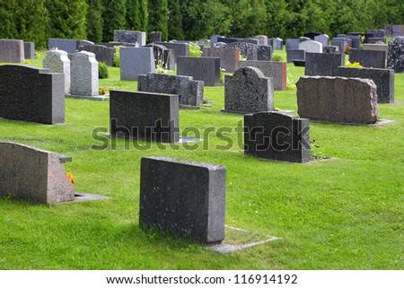Churchyard in Aland (Ecker�¶) parish church in Kirkoby). - stock photo