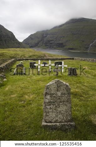 Churchyard in the nature, Saksun, Faroe Islands - stock photo