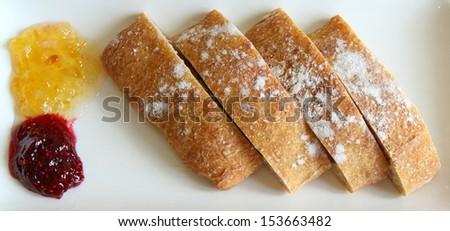 Ciabatta on a white dish - stock photo