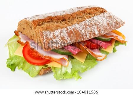 ciabatta with salami and ham - stock photo