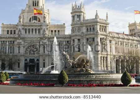 Cibeles Fountain Madrid Spain - stock photo