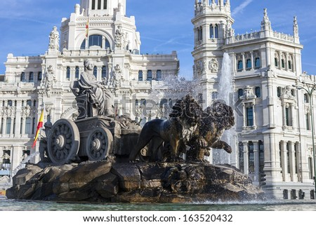 Cibeles Palace and fountain, Madrid, Spain - stock photo
