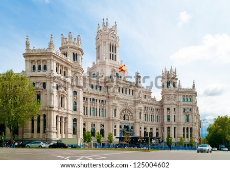 Cibeles Palace is the most prominent of the buildings at the Plaza de Cibeles in Madrid, Spain. - stock photo