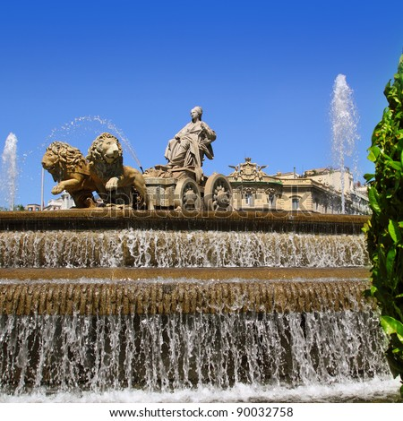 Cibeles statue Madrid fountain in Paseo de Castellana at Spain - stock photo