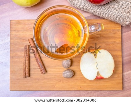 Cider - alcohol hot apploe beverage. Top view. - stock photo