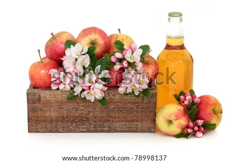 Cider bottle with gala apple variety and spring flower blossom in a rustic wooden box isolated over white background. - stock photo