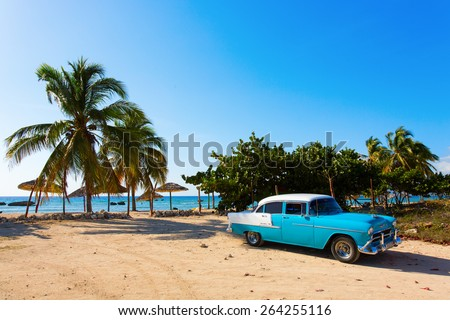 CIENFUEGOS - FEBRUARY 23: Streets of Cienfuegos with classic old car and palm tree in background on February 23, 2015 in Cienfuegos. Old American cars are iconic sight of Cuba street. - stock photo