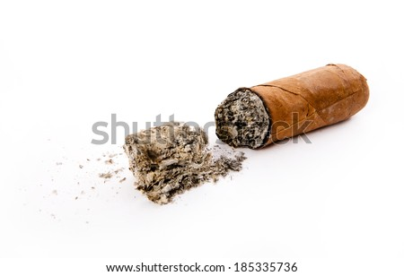 cigar and ashes isolated on white - stock photo