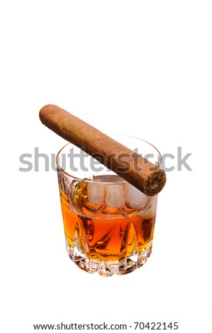 cigar and glass of whiskey - stock photo