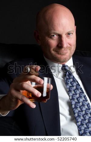 Cigar Man Drinking - stock photo