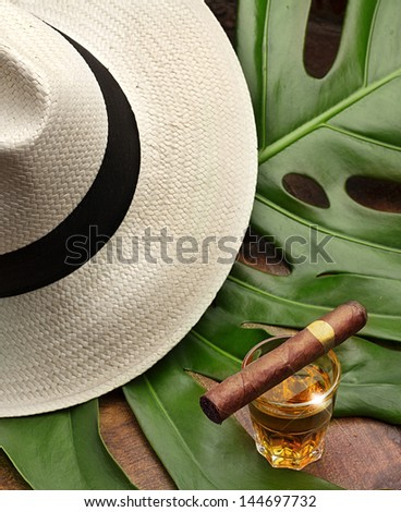 cigar on a glass of rum, panama and leaf green - stock photo