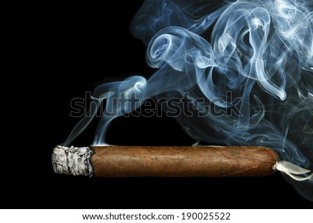 cigar with smoke on black background - stock photo