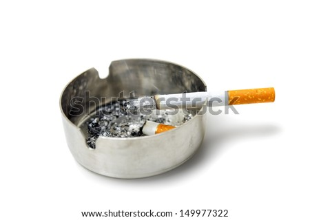 Cigarette and ashtray on white - stock photo