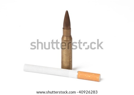 cigarette and bullet isolated on white background