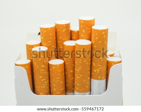 cigarette and cigarette box on white background isolated