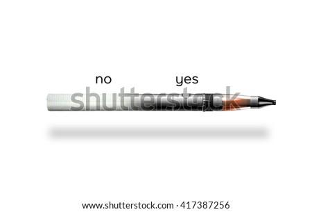 cigarette and e-cigarette on white background  - stock photo