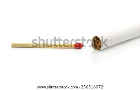 cigarette and match - stock photo