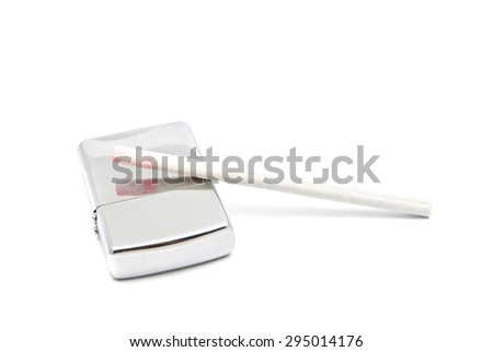 cigarette and metal lighter on white background - stock photo