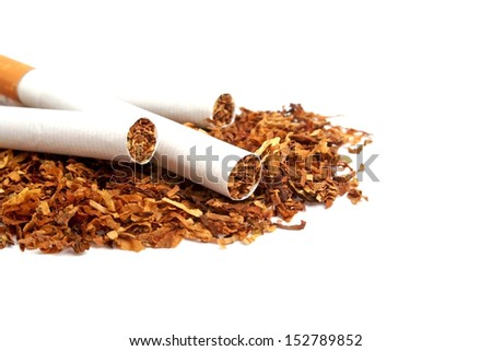Cigarette and tobacco on a white background - stock photo