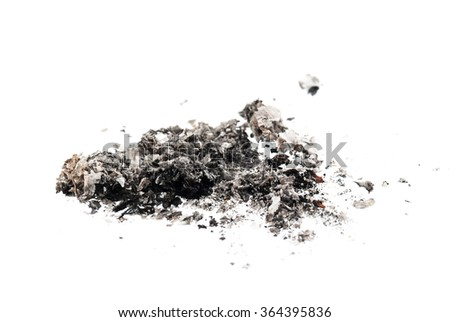 cigarette ash on white background