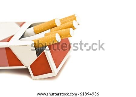 cigarette box isolated on white - stock photo