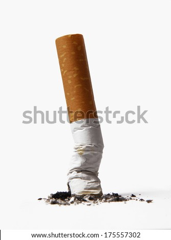 Cigarette butt isolated on white background. - stock photo