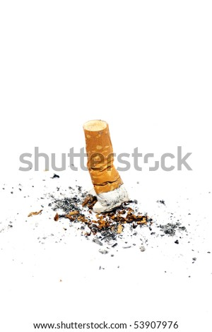Cigarette butt on isolated white background