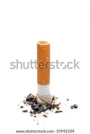 Cigarette butt on white background - stock photo