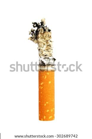 Cigarette butt with ash - stock photo