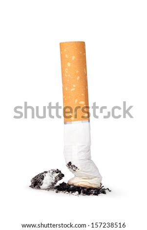 cigarette butt with ash isolated on white background - stock photo