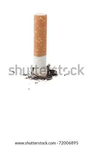 Cigarette butt with some ashes isolated against a white background. - stock photo