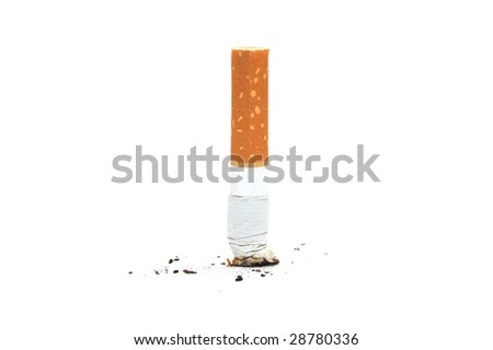 cigarette butte on white backgraund - stock photo