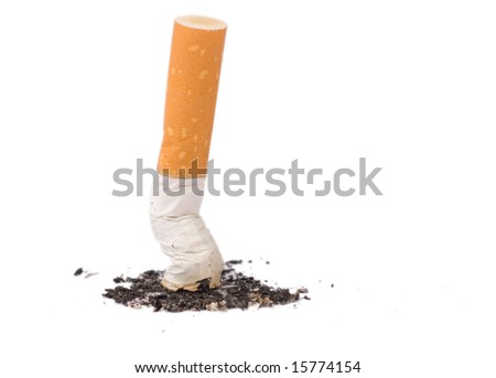 cigarette butte - shot of cigarette put out - stock photo