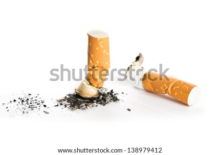 Cigarette butts isolated on white - stock photo