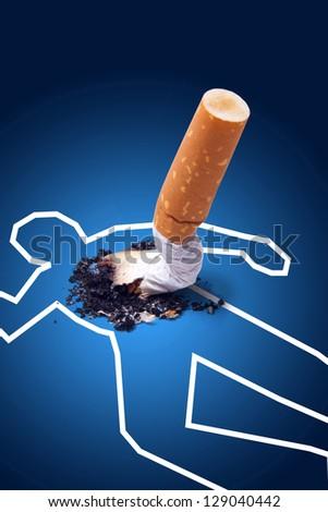 Cigarette crime scene - Anti smoking concept - stock photo