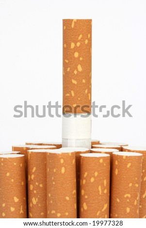 cigarette filters closeup with copyspace isolated on white